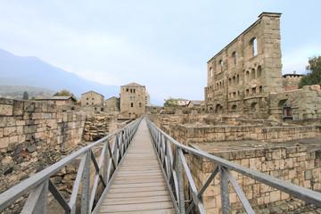ancient Roman theatre ruins of Aosta, Italy
