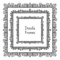Doodle frame. Vector hand drawn squares frames with floral doodle ornament. Black and white colors. Isolated. Cute frames for your design.