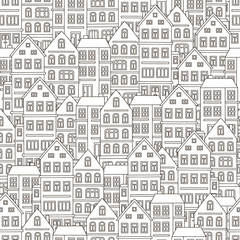 Doodle house. Vector seamless pattern with doodle houses. Cute background with many homes. Black and white colors. Pattern for coloring book.
