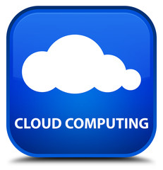 Cloud computing blue square button
