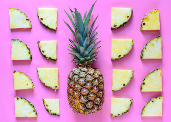 Pineapple on a stylized bright background