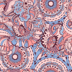 Rose Quartz and Serenity trendy colors of the year 2016 in the seamless pattern. Zentangle or doodle style ornament with mandalas and floral elements.