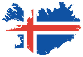 Iceland Map with Flag