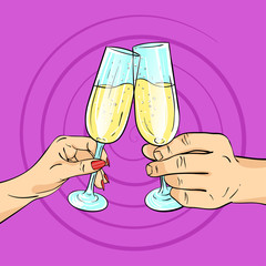 Vector hand drawn pop art illustration of man and woman hands. Glasses of champagne.