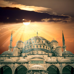 Amazing view of Blue Mosque with sun and  sunbeams
