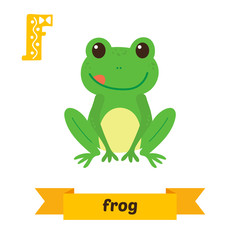 Frog. F letter. Cute children animal alphabet in vector. Funny c
