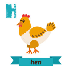 Hen. H letter. Cute children animal alphabet in vector. Funny ca