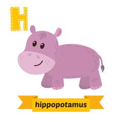 Hippopotamus. H letter. Cute children animal alphabet in vector.