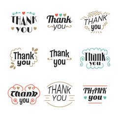 Set of 9 Thank you labels, emblems, stickers or badges. Decorati