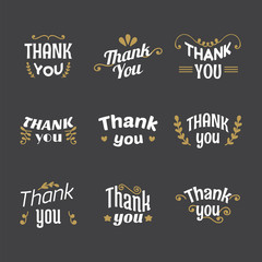 Set of Thank you labels, emblems, stickers, badges. Decoration d