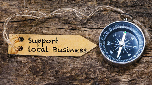 Support local business - business tips handwriting on label with