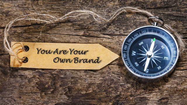 You Are Your Own Brand - blogging tips handwriting on label with
