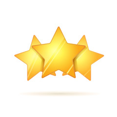 Three glossy golden rating stars with shadow on white