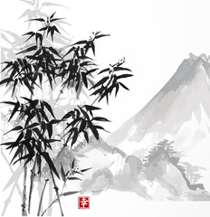 Bamboo and mountains, hand-drawn with ink in traditional Japanese style sumi-e. Vector illustration. Contains hieroglyph - happiness.