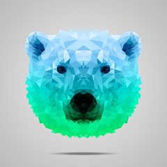 Polar bear poly gradient blue green