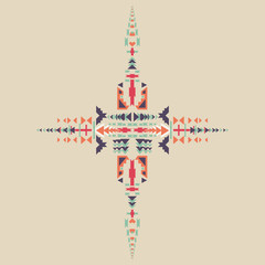 Tribal element in aztec stile, tribal design isolated on pastel background. American indian motifs. Vector colorful elements on native ethnic style.
