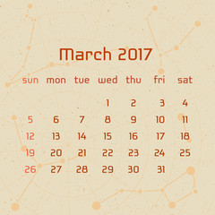 Vector calendar for 2017 in the retro style. Calendar for the month of Mach with the image of the constellations on beige scratched background. Elements for creative design ideas of your calendar