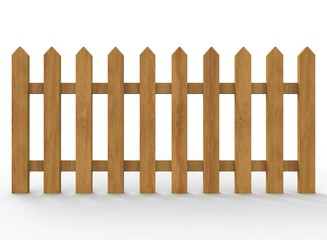 3d illustration of simple fence. low poly style. simple to use. on white background isolated with shadow. wooden color