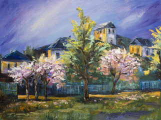 Art Oil-Painting Picture Blooming Trees in the Village with Blue Sky