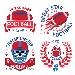Set of american football labels with  burning ball, scull in helmet, laurel. Vector
