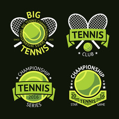Set of old style Tennis Labels with ball and rackets. Vector