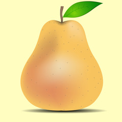 One pear on a yellow background