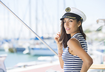 Attractive woman on a yacht