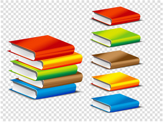 Books in a stack, isolated book. Set of color books colored notebook. Set of color notebooks. Realistic book and notebook. Vector illustration
