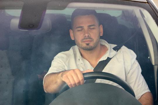 attention sleepy an driving a car
