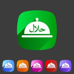 Halal food platter dish meal icon sign symbol logo label