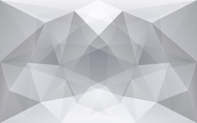 White and soft grey polygonal geometric background, symmetrical