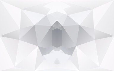 White and light grey polygonal geometric background, symmetry te