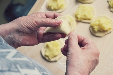 Female hands making dumplings close up