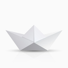 vector modern origami boat with shadow on transparent