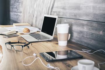 Wooden designer desktop side