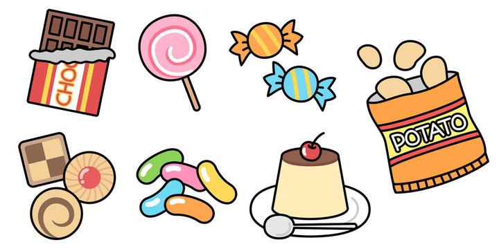 お菓子のイラスト セット素材 チョコ・クッキー・キャンディ・ポテチ・プリン