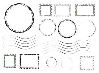 Obraz Set of postal stamps and postmarks, isolated on white background, vector illustration. - fototapety do salonu