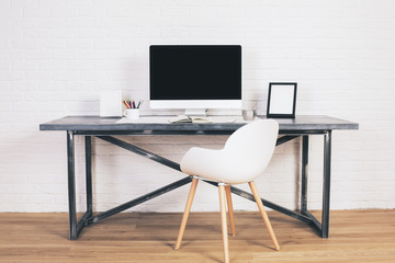 Designer desk with chair front