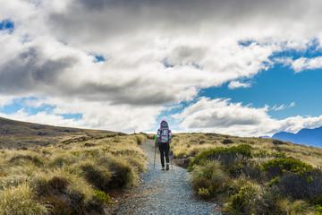 Woman hiker on Kepler Track.