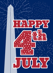 Vintage design for fourth of July Independence Day USA. Designed in American flag colors with Washington Monument.