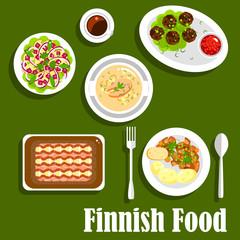 Traditional finnish cuisine flat icon