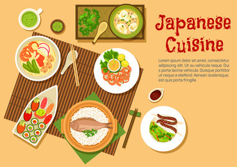 Traditional japanese seafood dishes flat icon