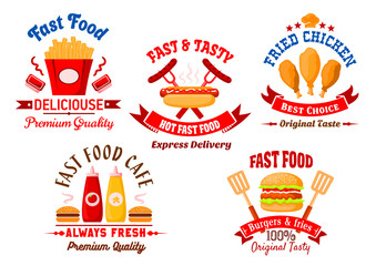 Fast food cafe and grill restaurant retro badges