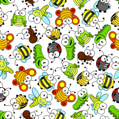 Colorful cartoon funny insects seamless pattern