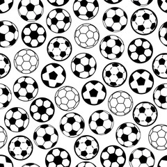Soccer game seamless pattern with football balls