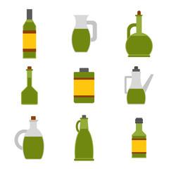 Vector flat cartoon olive oil bottles