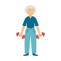 Vector cartoon active old woman