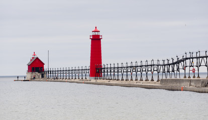 Dual Lighthouses Grand Haven Nautical Markers Lake Michigan