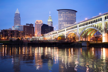 Cleveland Ohio Downtown City Skyline Cuyahoga River
