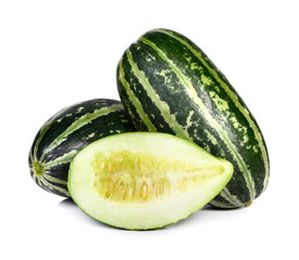 striped cucumber on white background